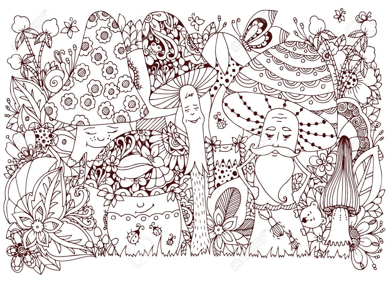 Illustration Vectorielle Enchevêtrement Zen De Champignons Dans La Forêt.  Dessin Animé, Doodle, Floral. Livre De Coloriage Anti Stress Pour Les à Dessin De Foret