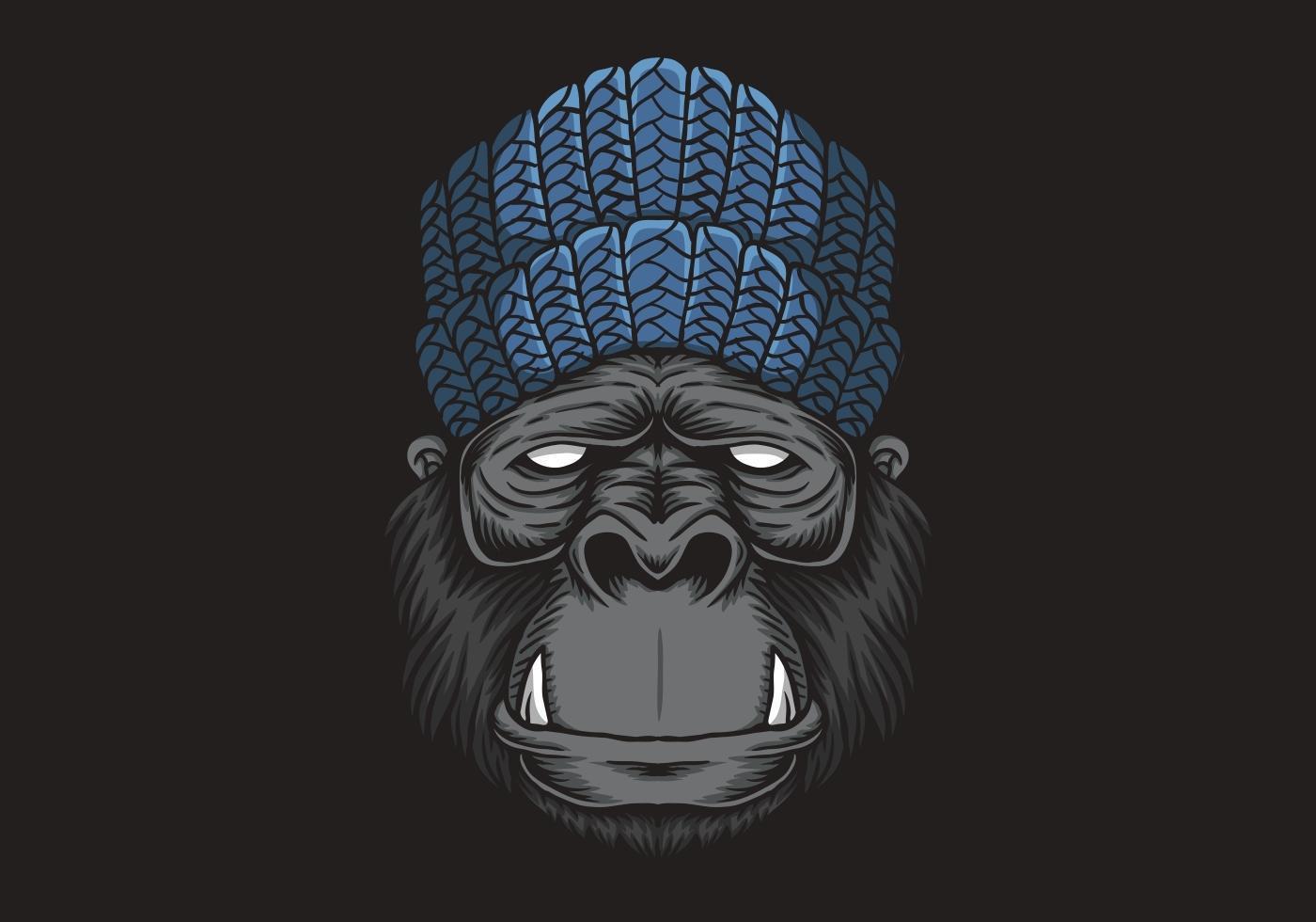 Illustration Vectorielle Tête De Gorille - Telecharger destiné Jeux De Gorille Gratuit