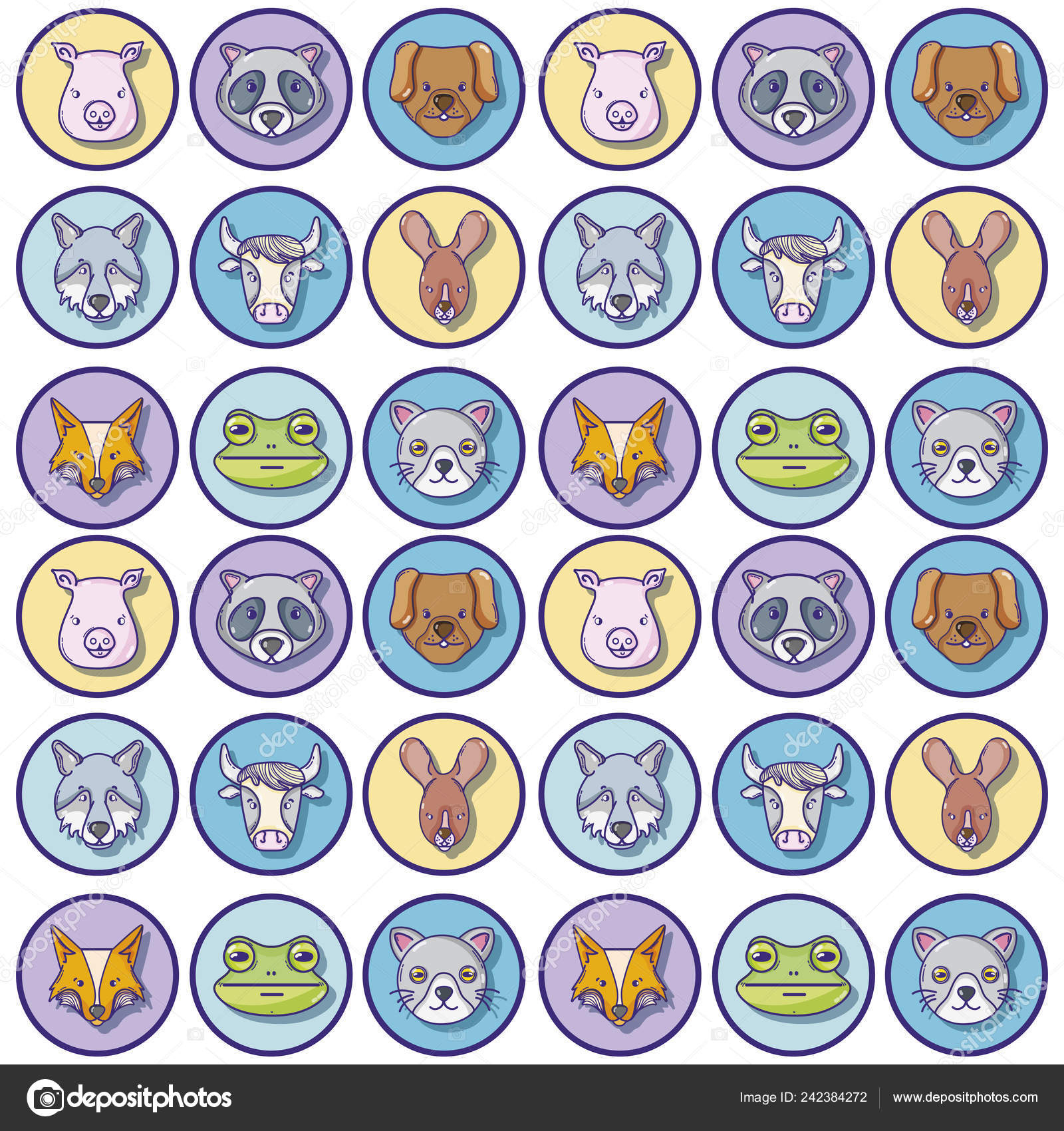 Illustration Vectorielle Têtes Mignon Wilds Animaux Fond dedans Sudoku Animaux À Imprimer