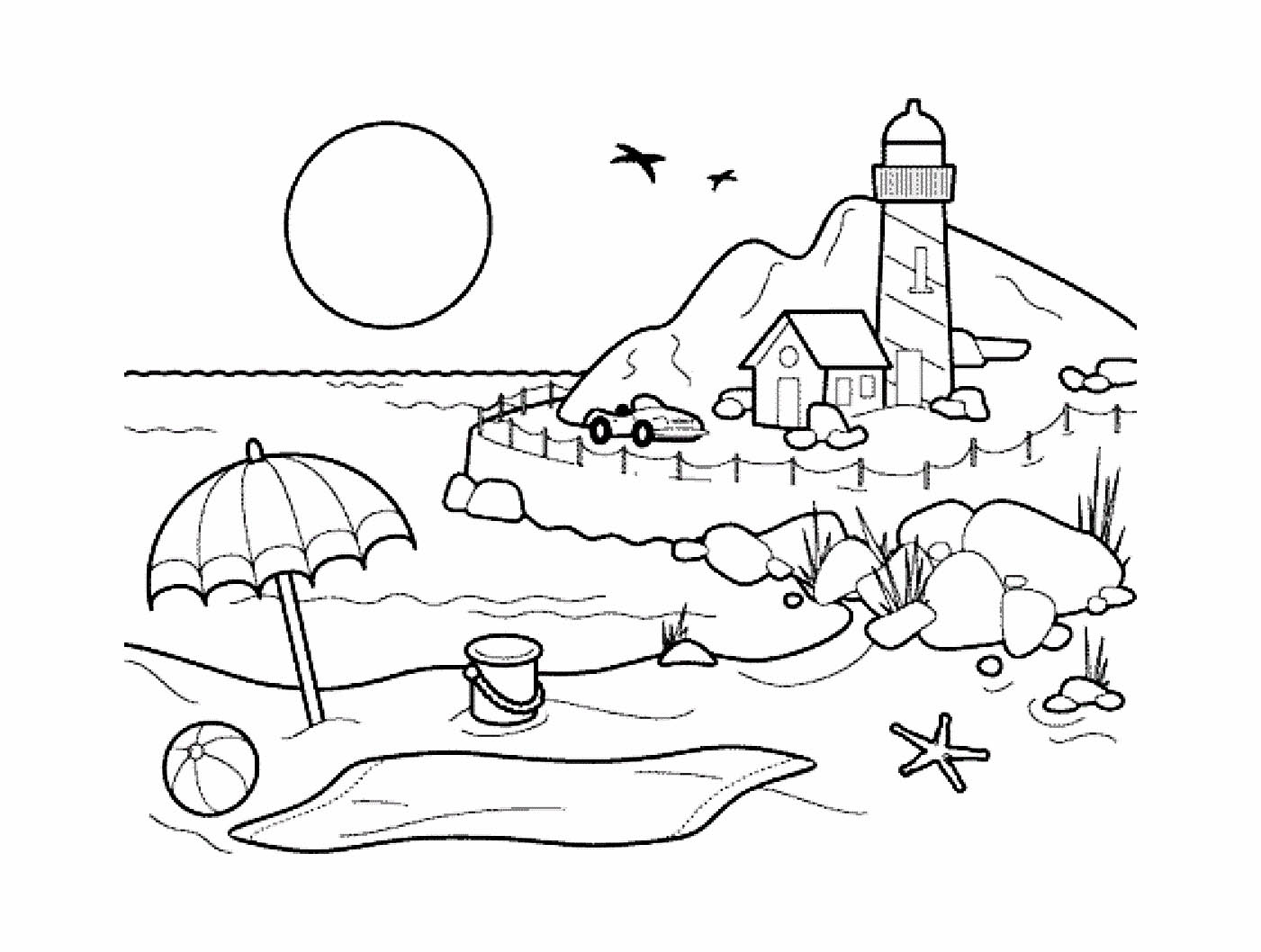 Image De Vacances À La Mer À Imprimer Et Colorier dedans Coloriage Sur La Mer À Imprimer