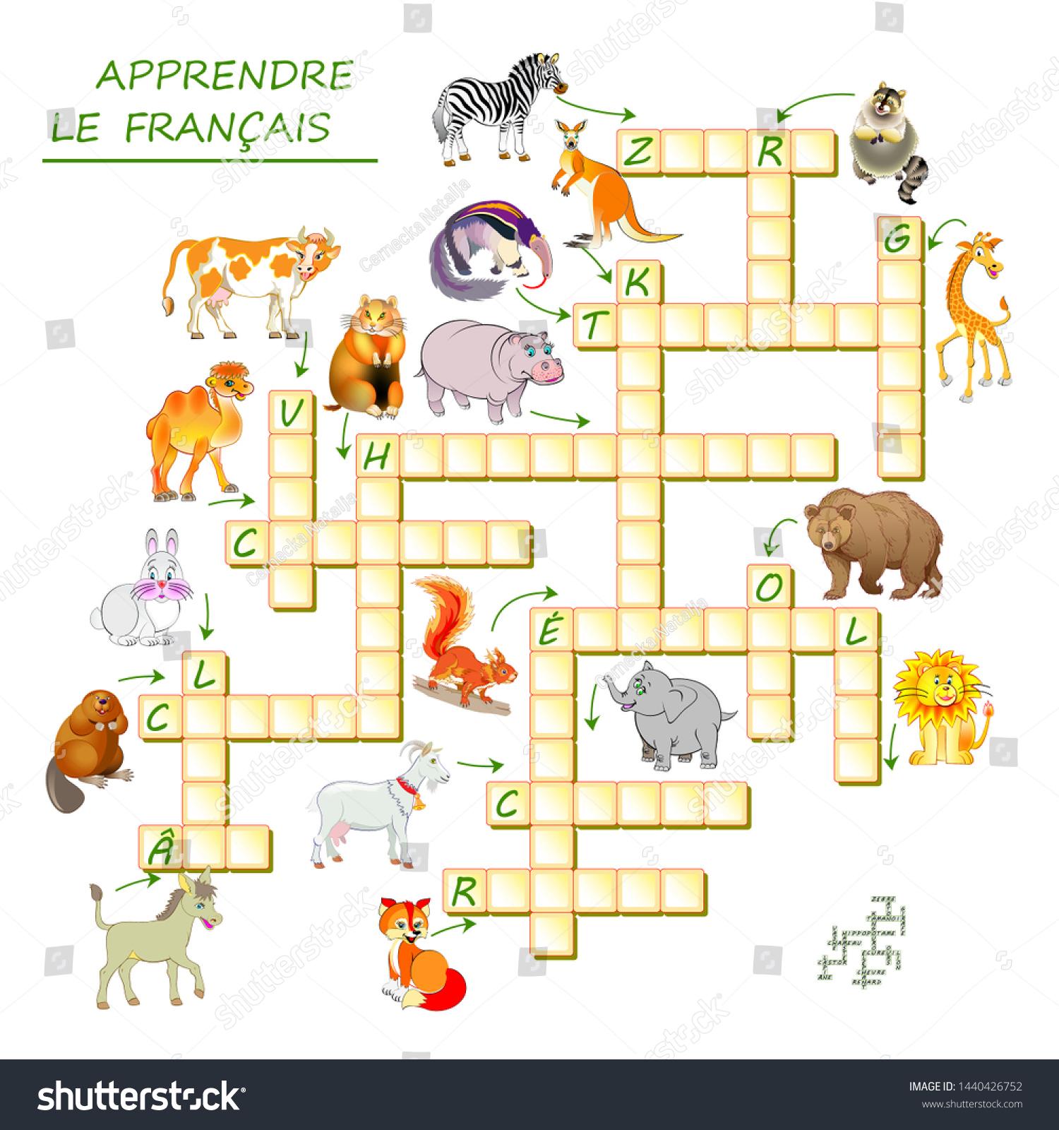Image Vectorielle De Stock De Apprenez Le Français. Jeu De encequiconcerne Mots Fleches Pour Enfants