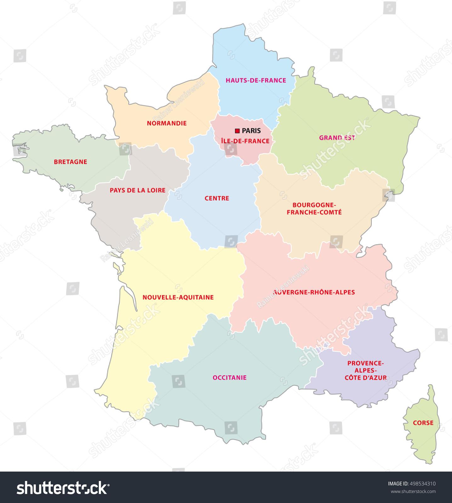 Image Vectorielle De Stock De Carte Administrative Des 13 destiné Carte Des Régions De France 2016