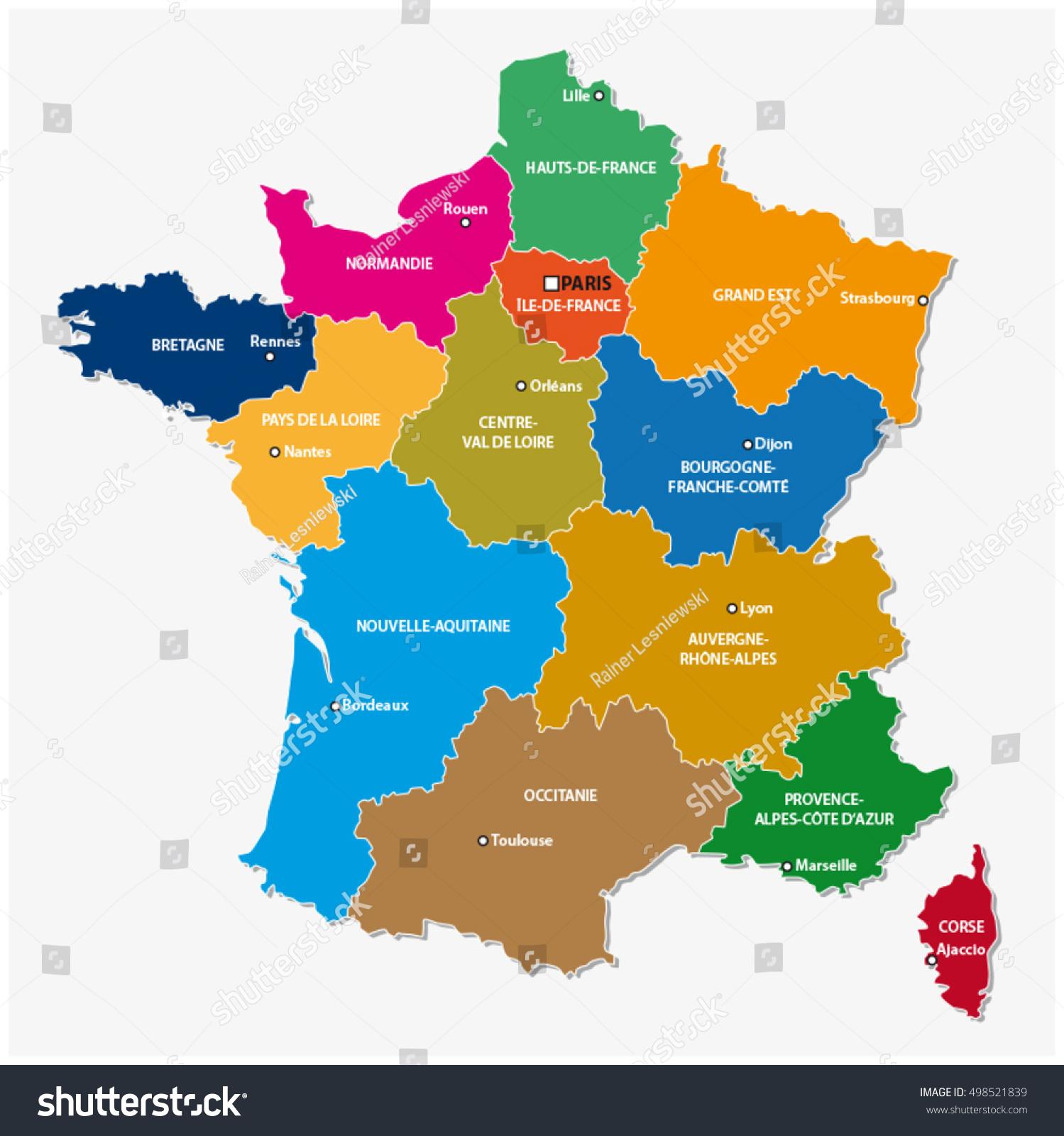 Image Vectorielle De Stock De Carte Administrative Des 13 intérieur Carte Des Régions De France 2016