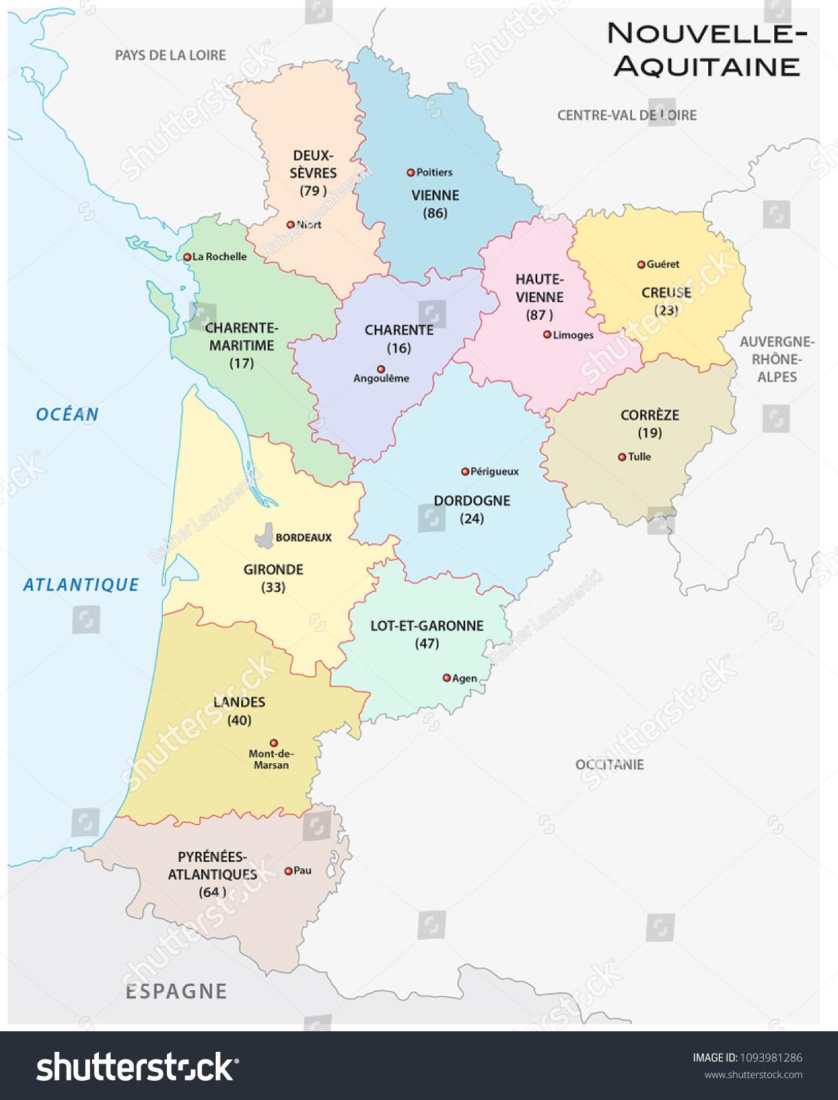 Image Vectorielle De Stock De Carte Administrative Et serapportantà Carte Nouvelle Région France