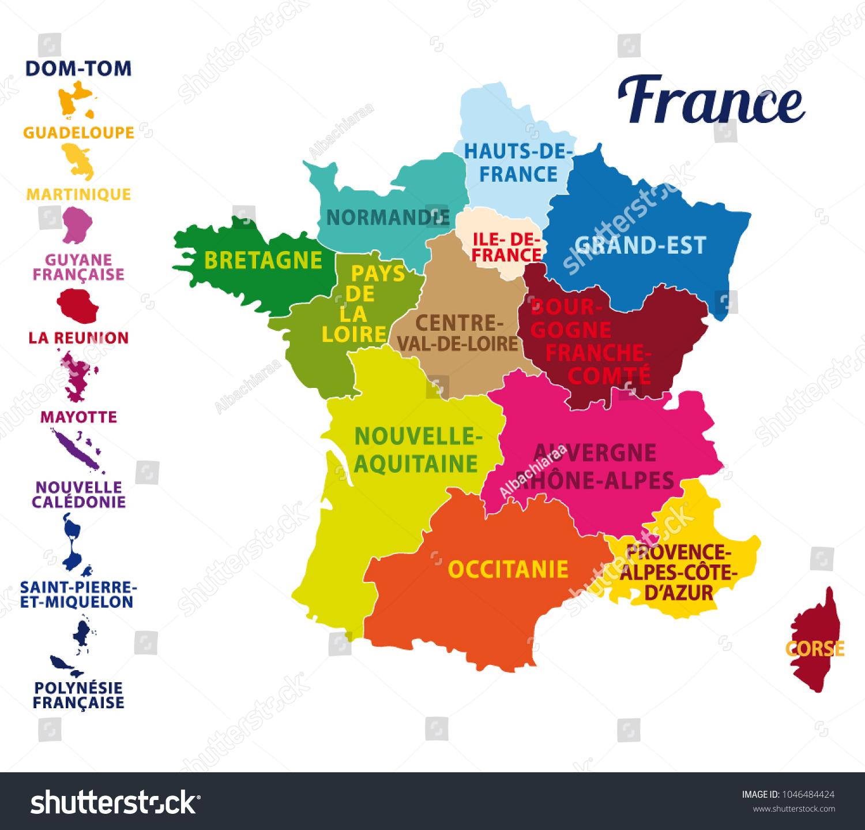 Image Vectorielle De Stock De Carte Colorée De La France intérieur Nouvelles Régions Carte