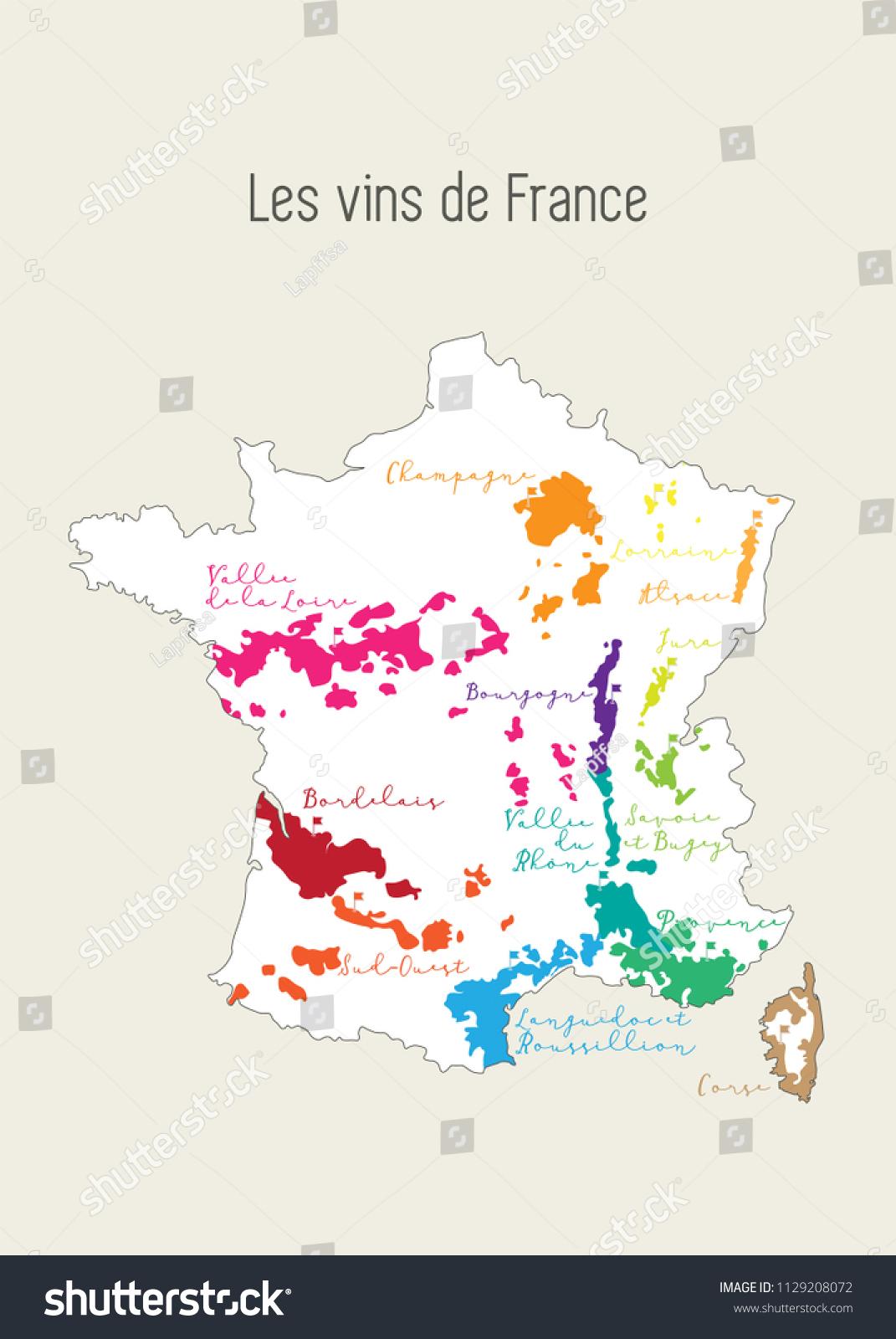 Image Vectorielle De Stock De Carte De La Région Viticole intérieur Carte De France Et Ses Régions