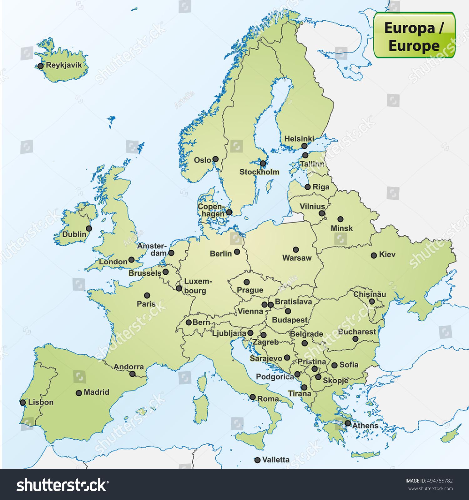 Image Vectorielle De Stock De Carte De L'europe Avec Les pour Carte De L Europe Capitales