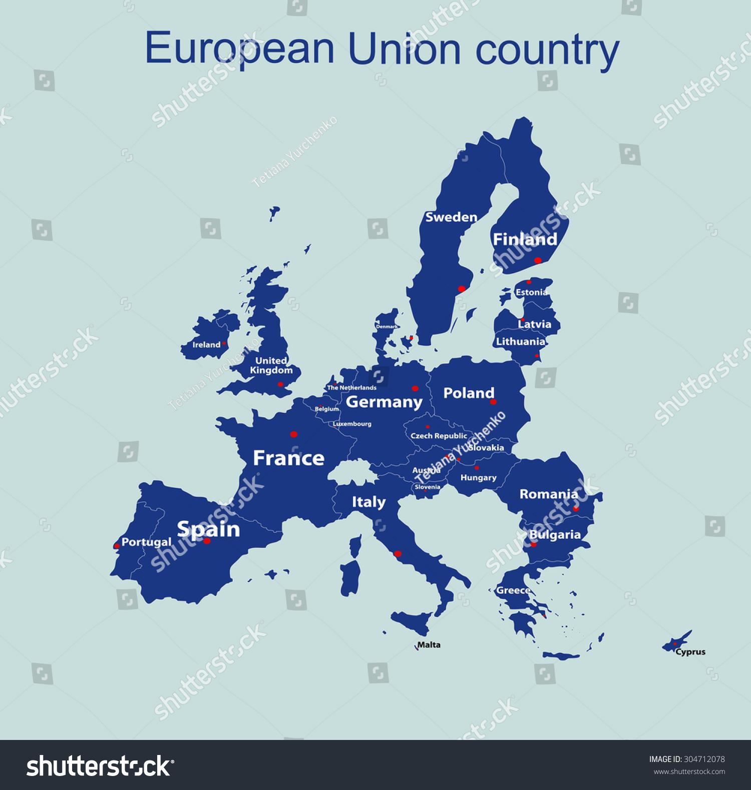 Image Vectorielle De Stock De Carte De L'union Européenne tout Carte Pays Union Européenne