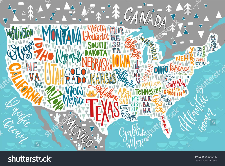 Image Vectorielle De Stock De Carte Des Etats-Unis Avec Les encequiconcerne Carte Des Etats Unis À Imprimer
