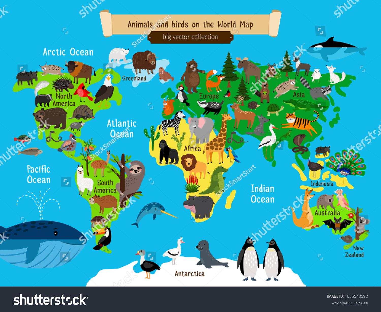 Image Vectorielle De Stock De Carte Du Monde Des Animaux à Carte Europe Enfant