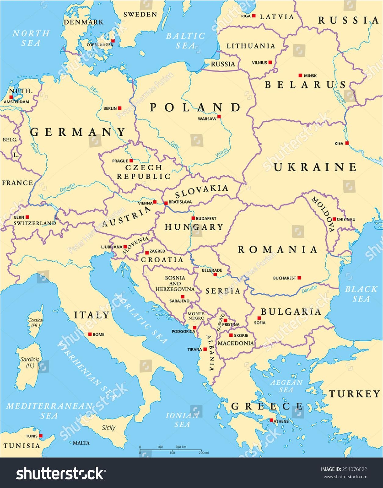 Image Vectorielle De Stock De Carte Politique De L'europe concernant Carte Des Capitales De L Europe