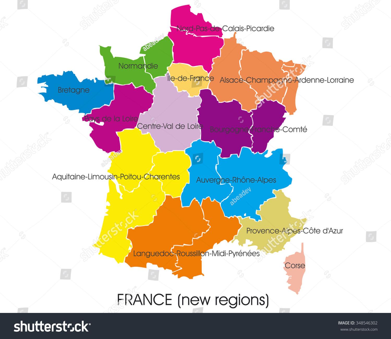 Image Vectorielle De Stock De Carte Vectorielle France intérieur Nouvelles Régions En France