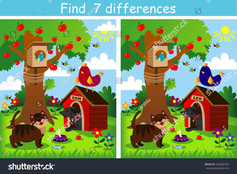 Image Vectorielle De Stock De Découvrez 7 Jeux De pour Jeux De Différence