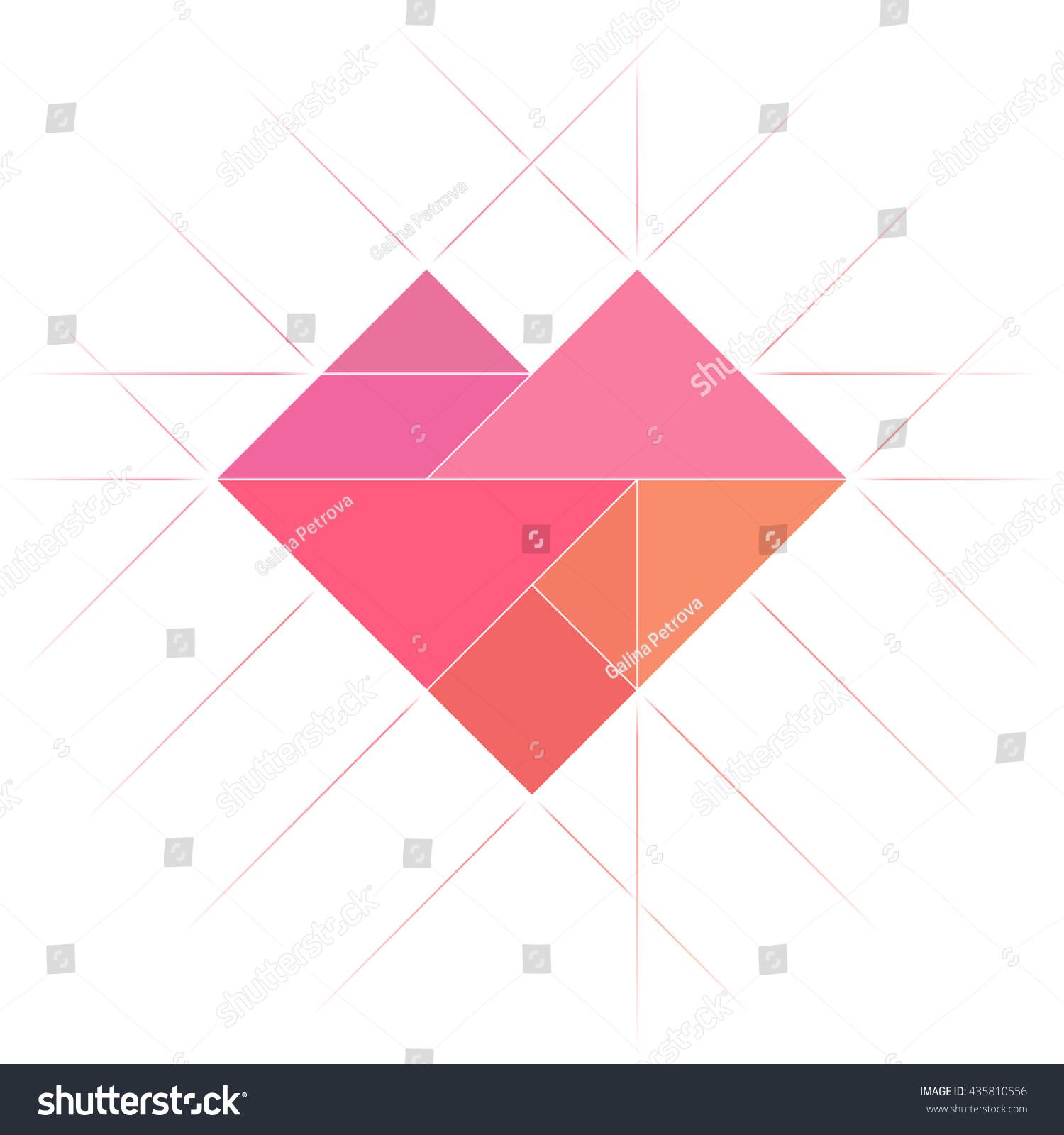 Image Vectorielle De Stock De Forme Du Coeur Tangram. Art serapportantà Tangram Carré