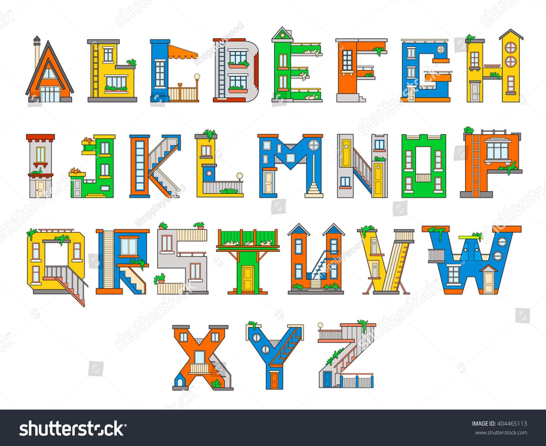Image Vectorielle De Stock De Illustration Maison Lettre serapportantà J Apprend L Alphabet Maternelle