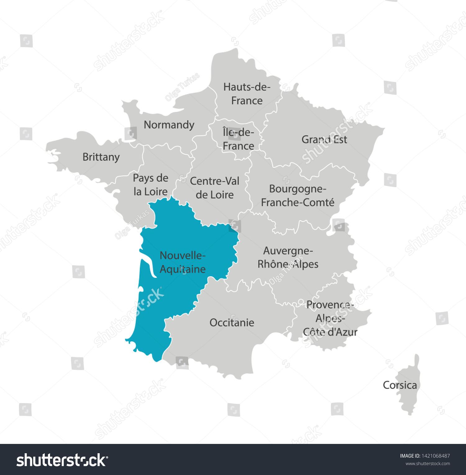 Image Vectorielle De Stock De Image Vectorielle Isolée à Nouvelle Carte Des Régions De France