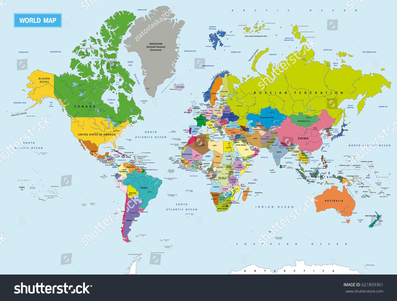 Image Vectorielle De Stock De Nouvelle Carte Politique Du tout Carte Du Monde Avec Capitale