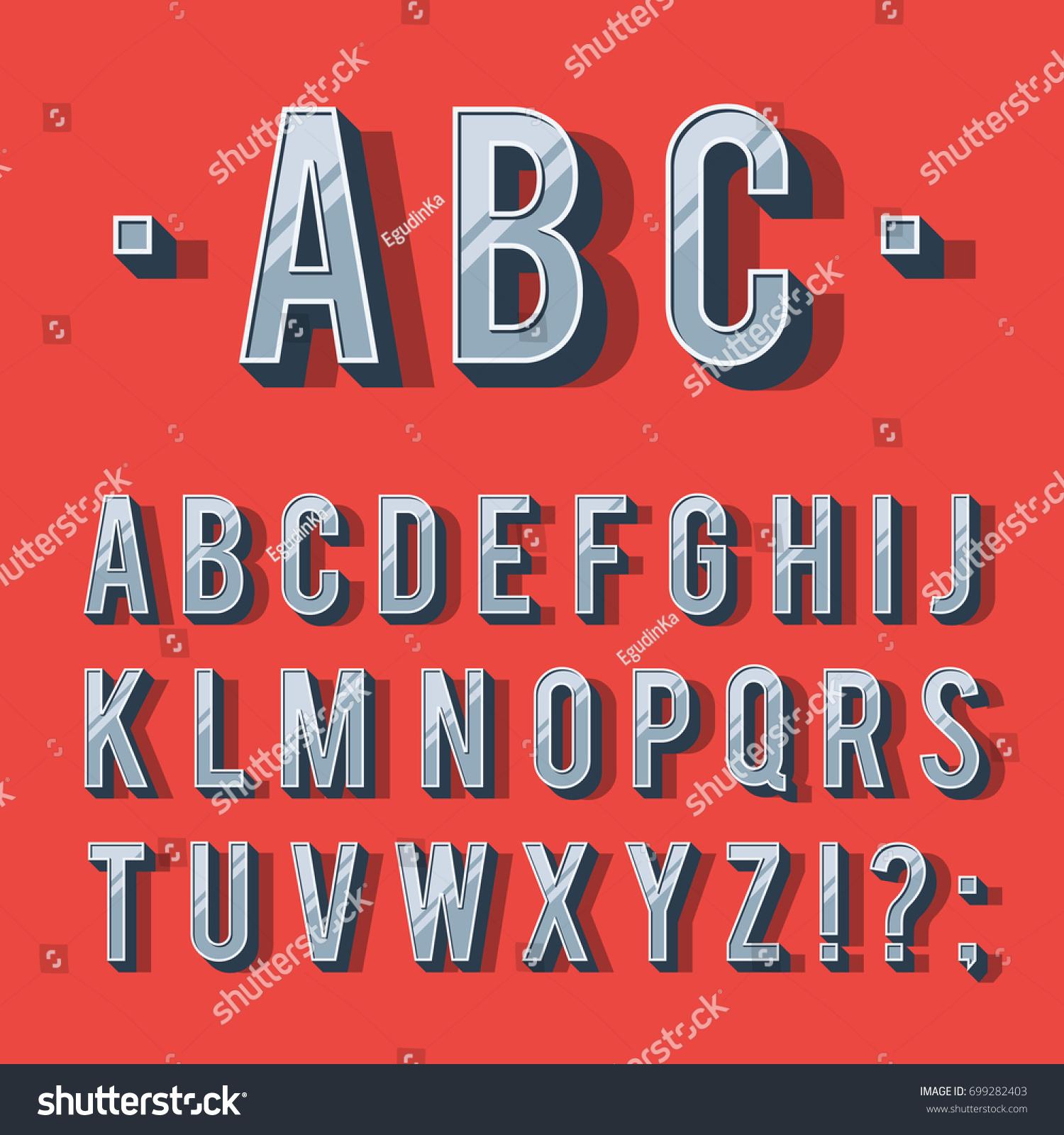 Image Vectorielle De Stock De Police De Type Rétro destiné Modèle D Alphabet