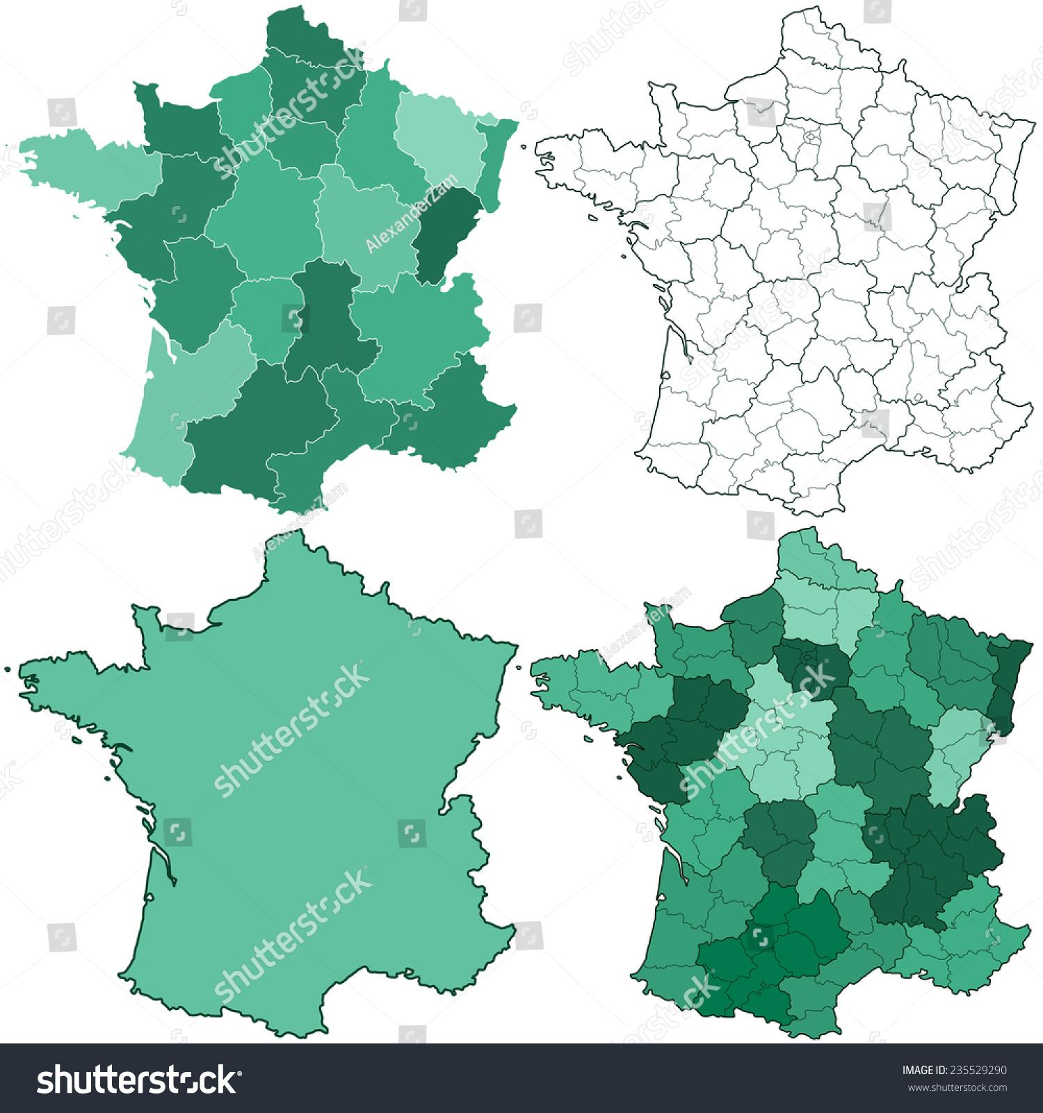 Image Vectorielle De Stock De Silhouette Carte Ensemble De intérieur Plan De France Avec Departement