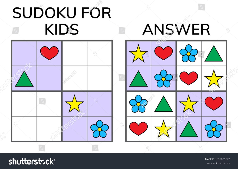 Image Vectorielle De Stock De Sudoku. Enfants Et Mosaïque encequiconcerne Sudoku Gratuit Enfant
