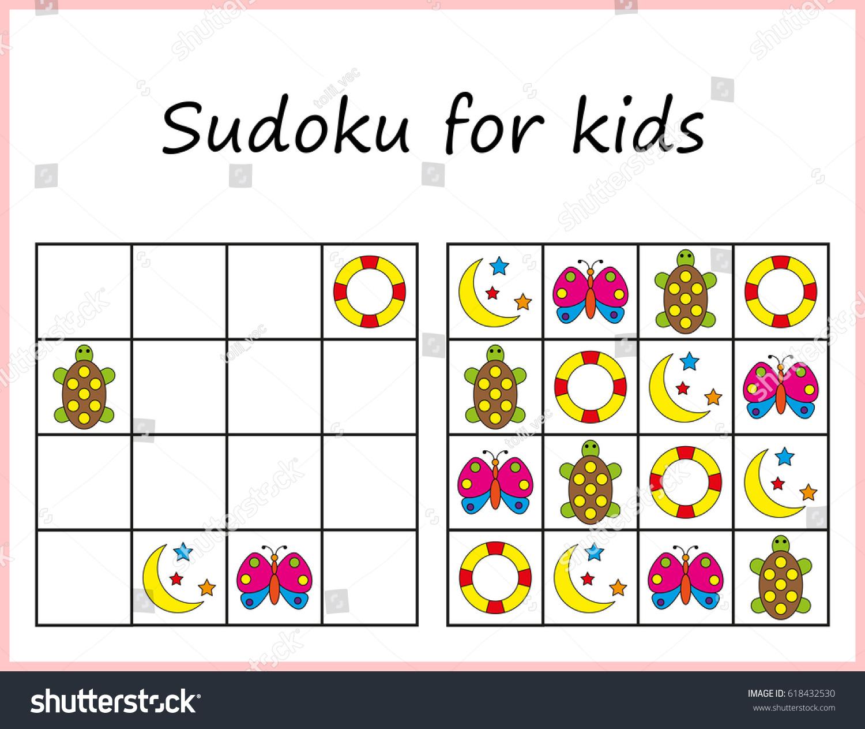 Image Vectorielle De Stock De Sudoku Pour Les Enfants. Jeu intérieur Sudoku Pour Enfant