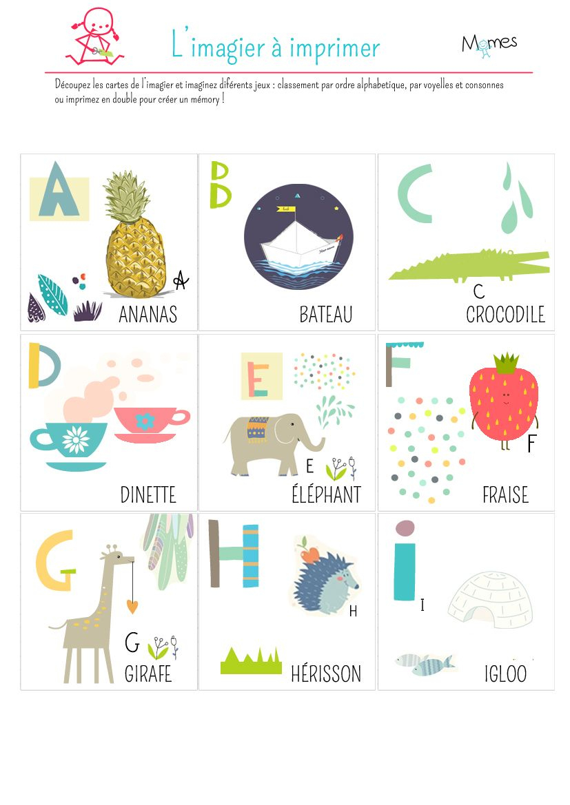 Imagier À Imprimer | Alphabet Enfant, Alphabet Imprimable Et pour Alphabet Français À Imprimer