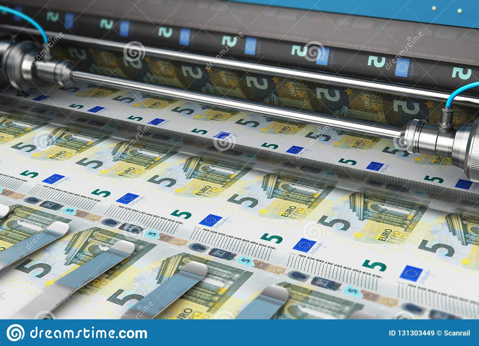 Impression De 5 Euro Billets De Banque D'argent Illustration tout Billet De 100 Euros À Imprimer