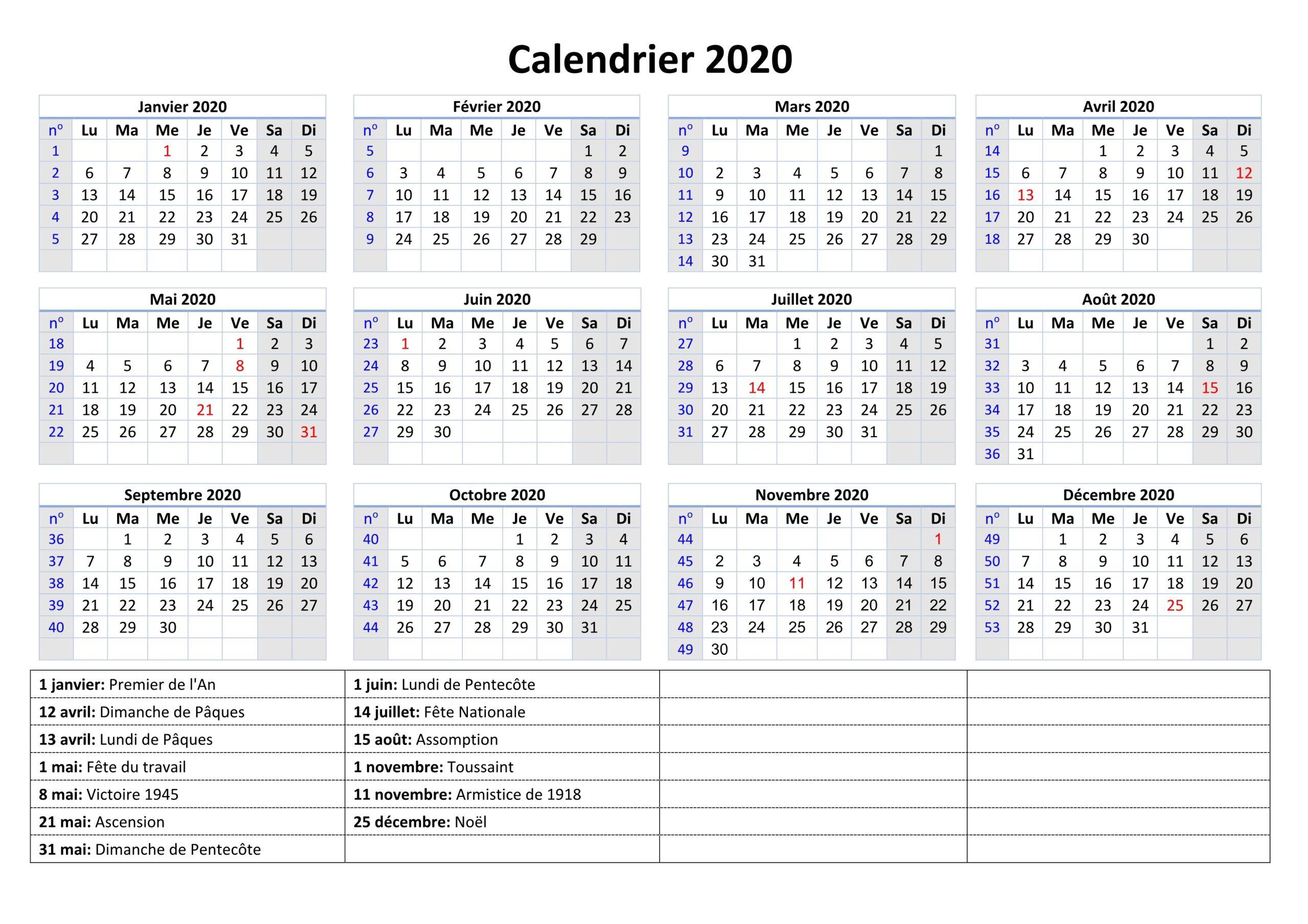 Imprimable Gratuit Jours 2020 Calendrier Vacances [Pdf dedans Calendrier 2019 Avec Jours Fériés Vacances Scolaires À Imprimer