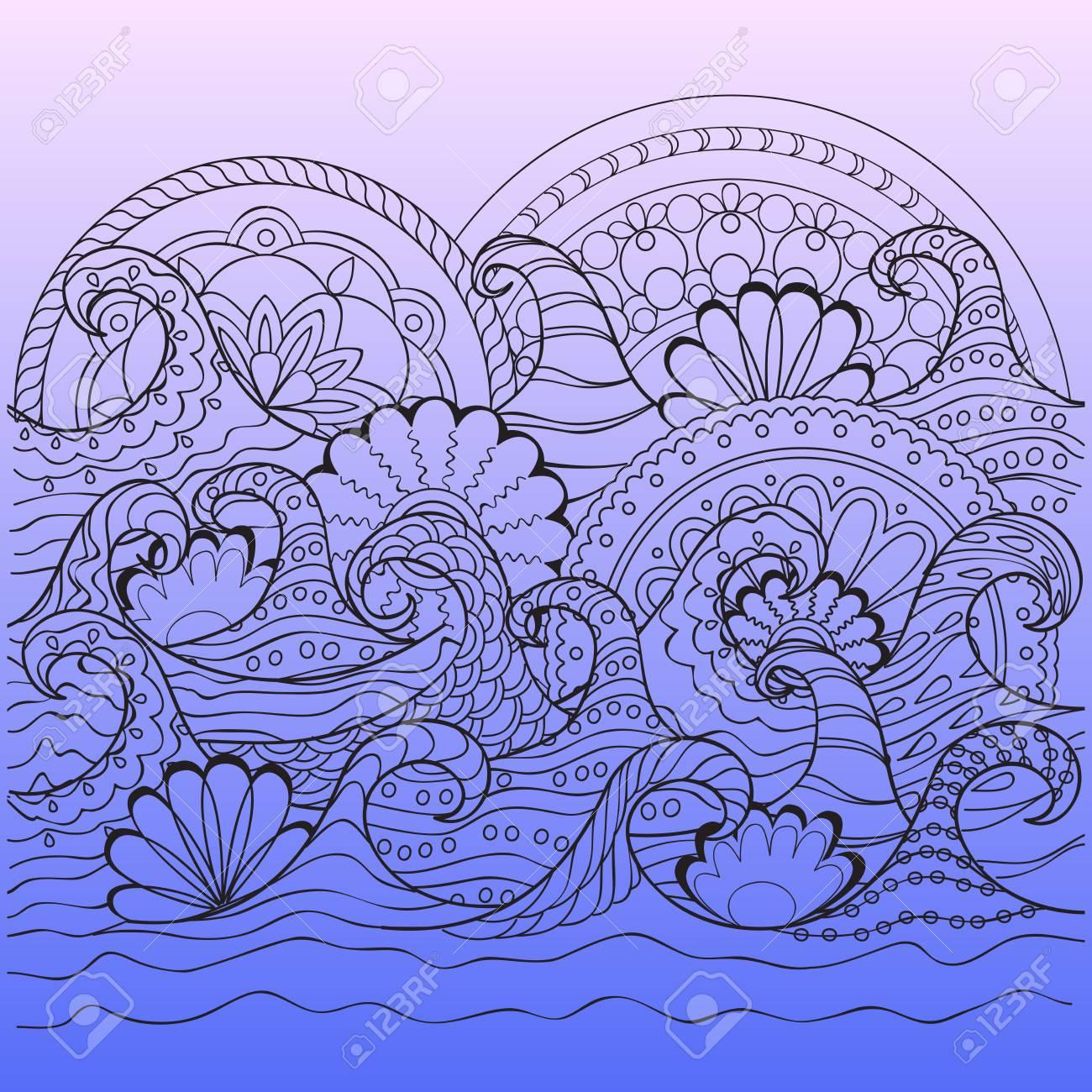 Imprimer Avec Des Vagues Décorées À La Main Et Des Mandalas Dans Le Style  Zen Pour L'art De La Maison, Décorer Le Mur, Carte De Visite, Livre,  Cahier, pour Image Zen A Imprimer