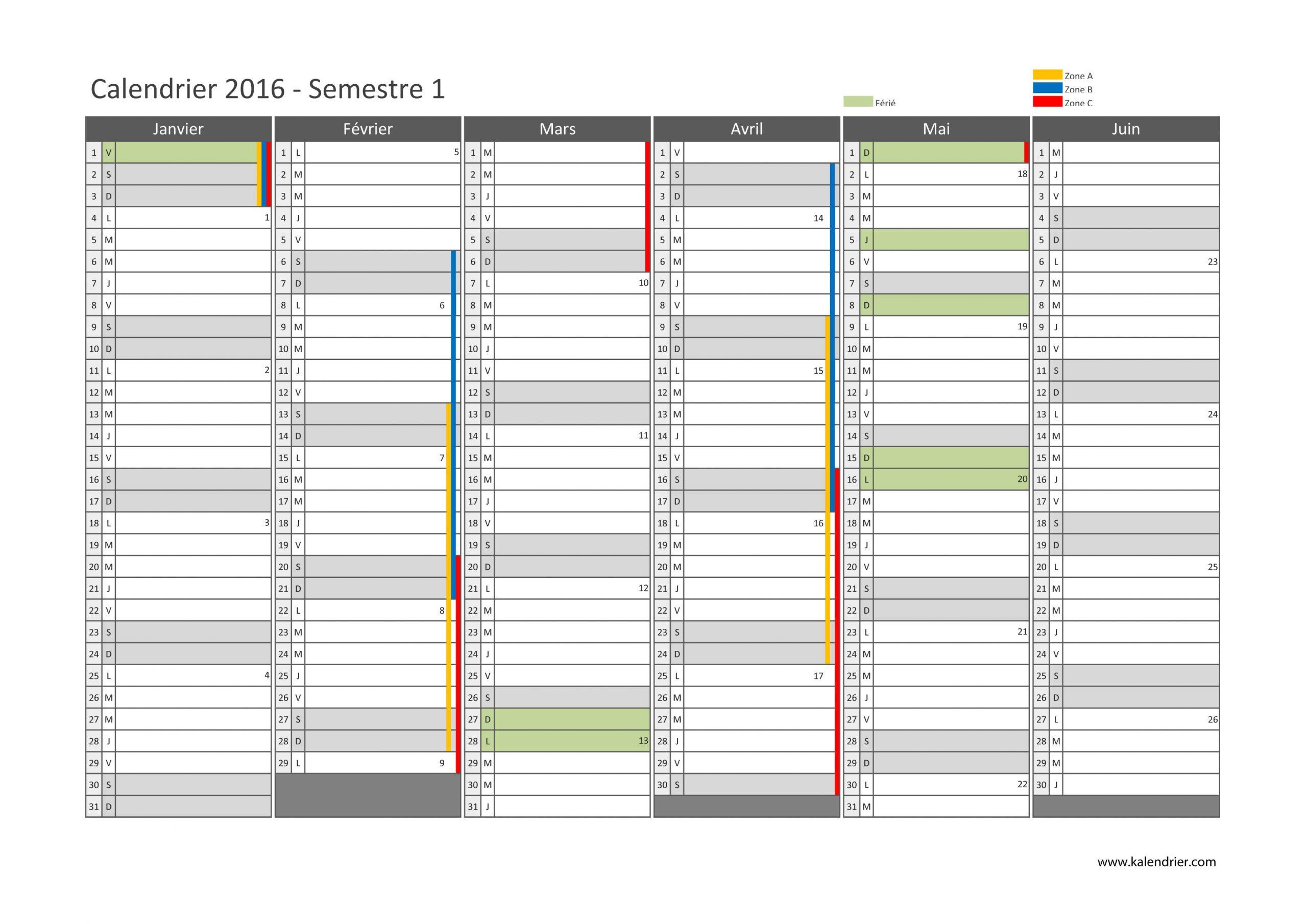 Imprimer Calendrier 2016 Gratuitement - Pdf, Xls Et Jpg avec Calendrier 2Ème Semestre 2018