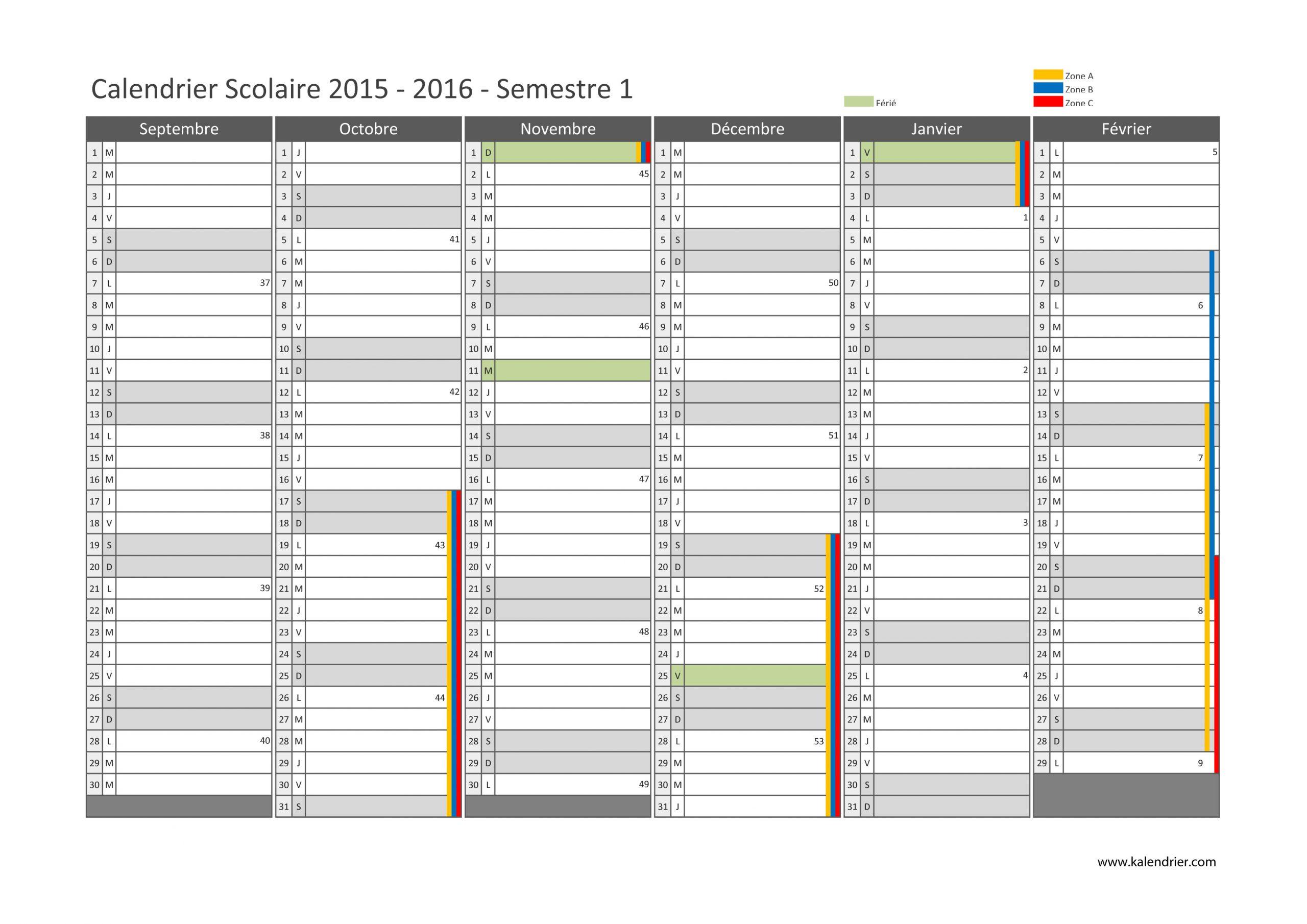 Imprimer Calendrier 2016 Gratuitement - Pdf, Xls Et Jpg encequiconcerne Calendrier 2018 Avec Jours Fériés Vacances Scolaires À Imprimer
