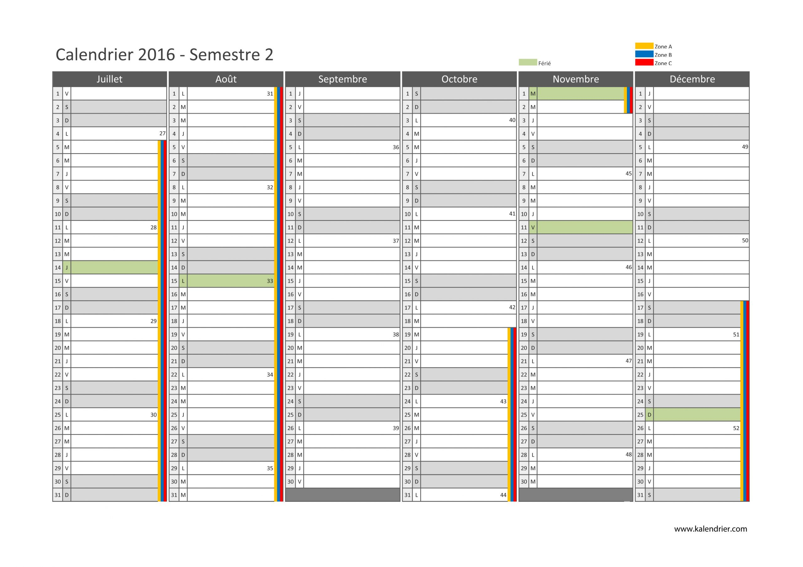 Imprimer Calendrier 2016 Gratuitement - Pdf, Xls Et Jpg serapportantà Calendrier 2Ème Semestre 2018