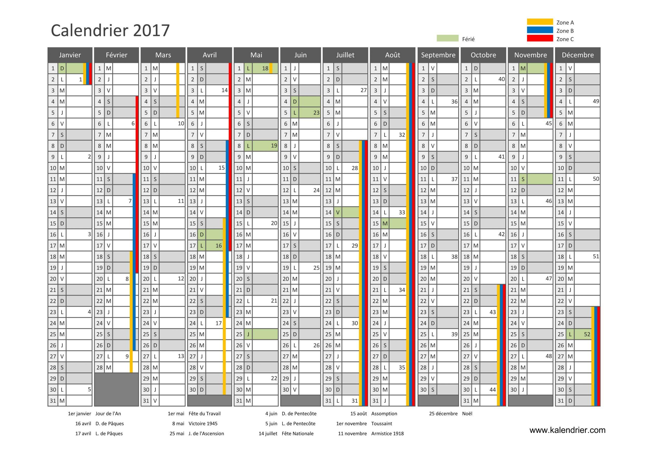 Imprimer Calendrier 2017 Gratuitement - Pdf, Xls Et Jpg concernant Calendrier 2018 Avec Jours Fériés Vacances Scolaires À Imprimer