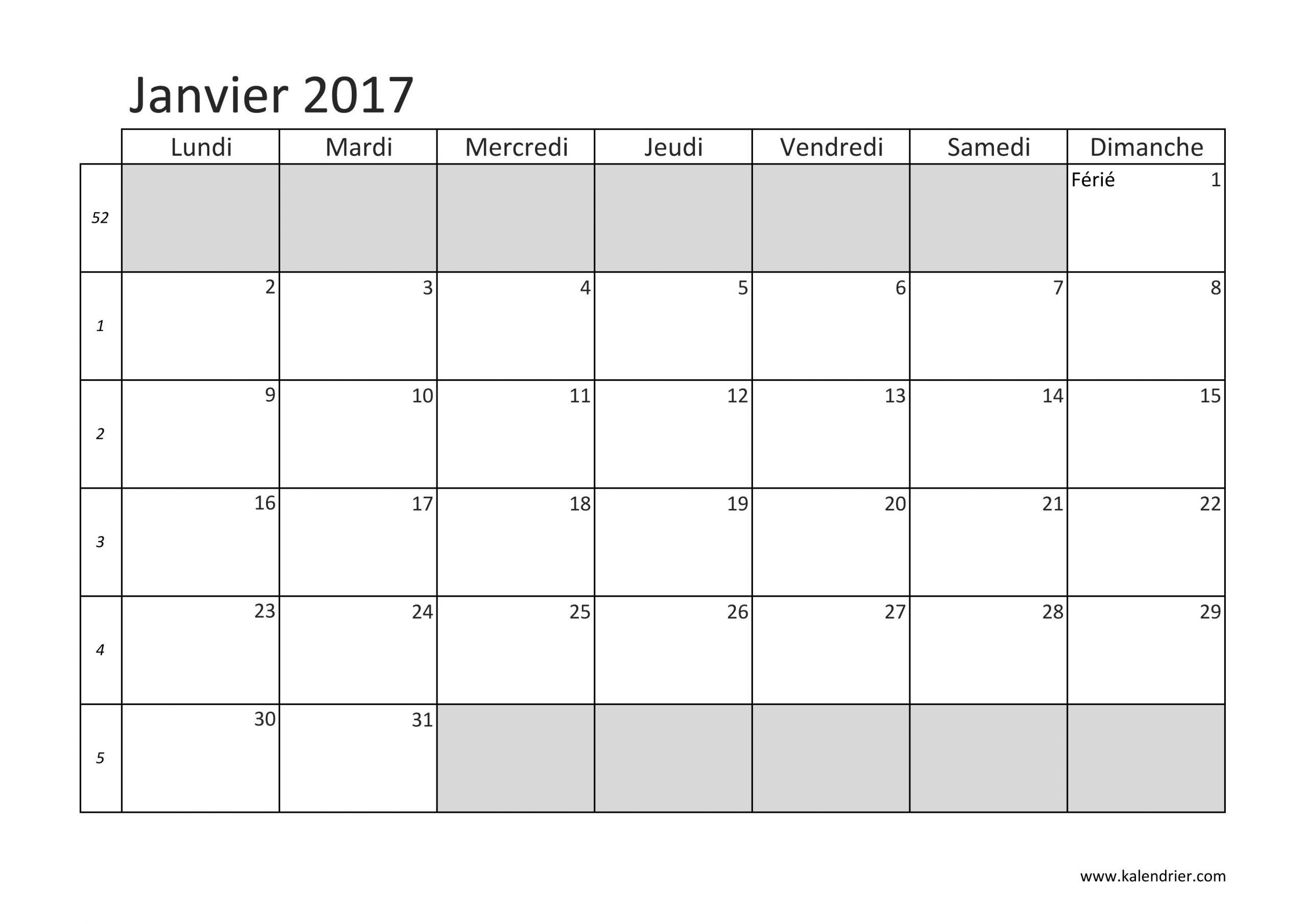 Imprimer Calendrier 2017 Gratuitement - Pdf, Xls Et Jpg destiné Calendrier Mensuel 2018 À Imprimer