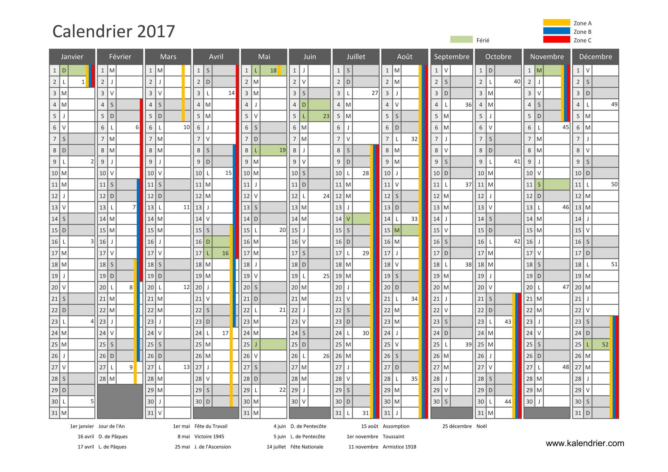 Imprimer Calendrier 2017 Gratuitement - Pdf, Xls Et Jpg tout Calendrier Annuel 2019 À Imprimer Gratuit