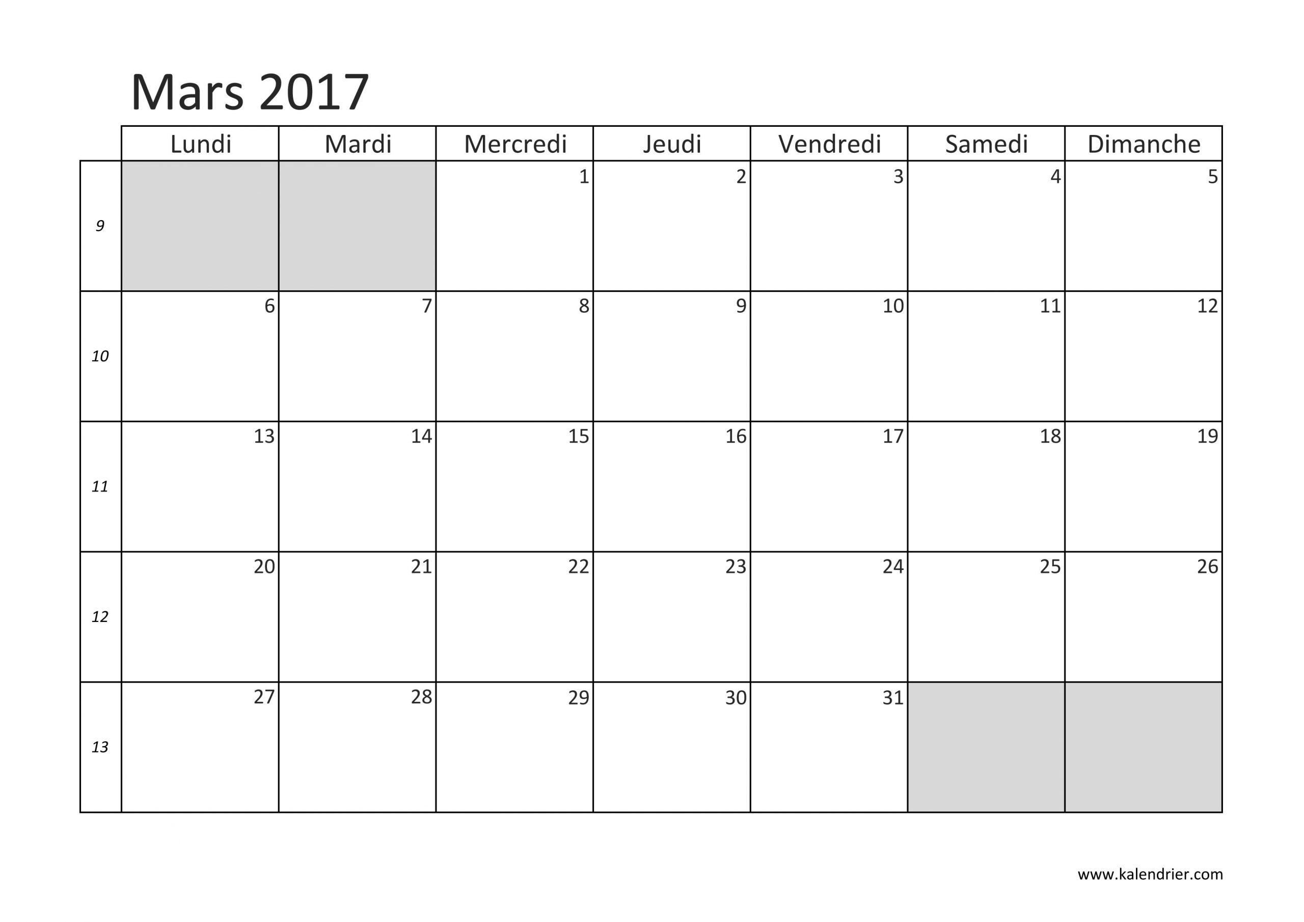 Imprimer Calendrier 2017 Gratuitement - Pdf, Xls Et Jpg tout Calendrier Mensuel 2018 À Imprimer