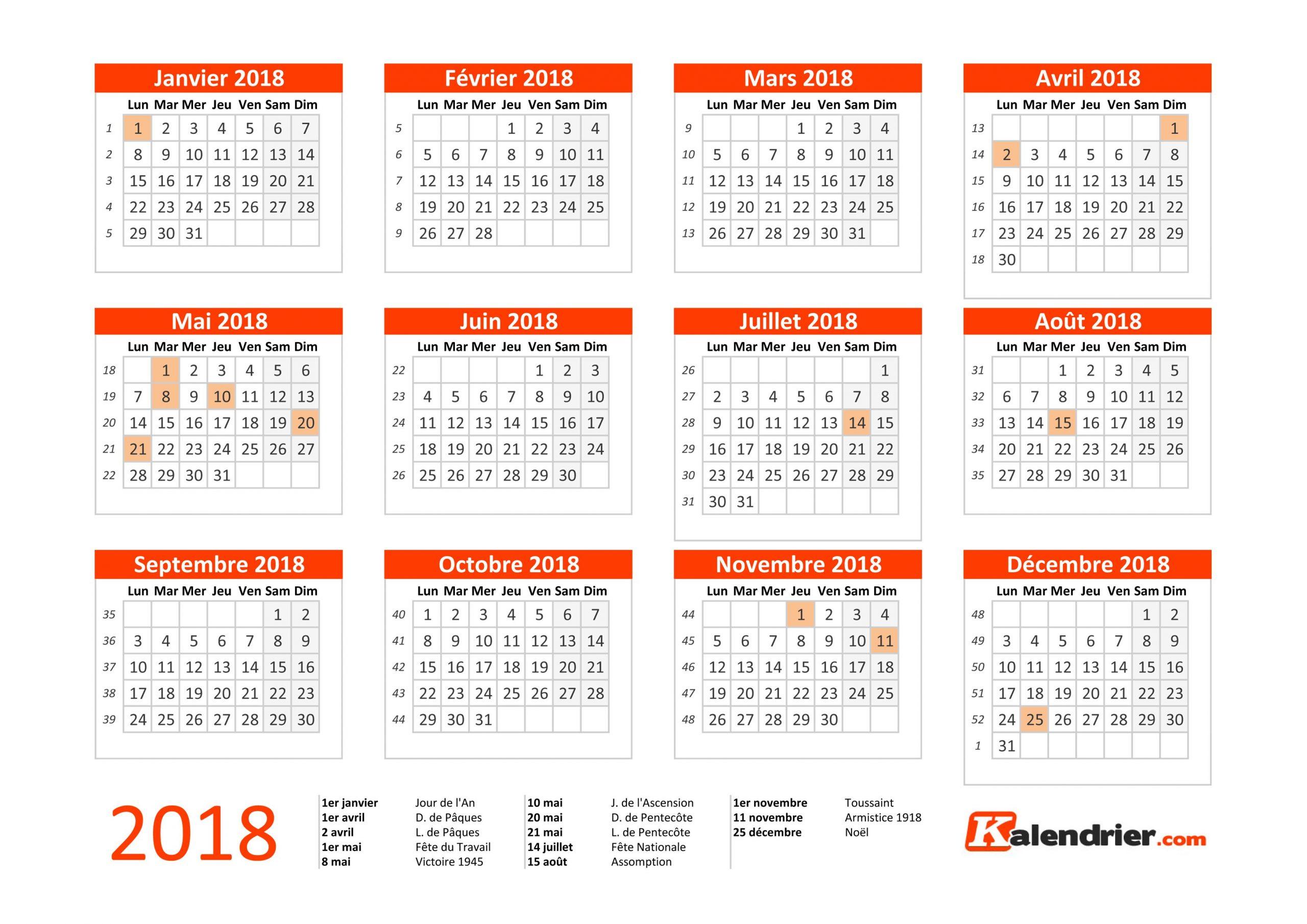 Imprimer Calendrier 2018 Gratuitement - Pdf, Xls Et Jpg encequiconcerne Calendrier Annuel 2018 À Imprimer
