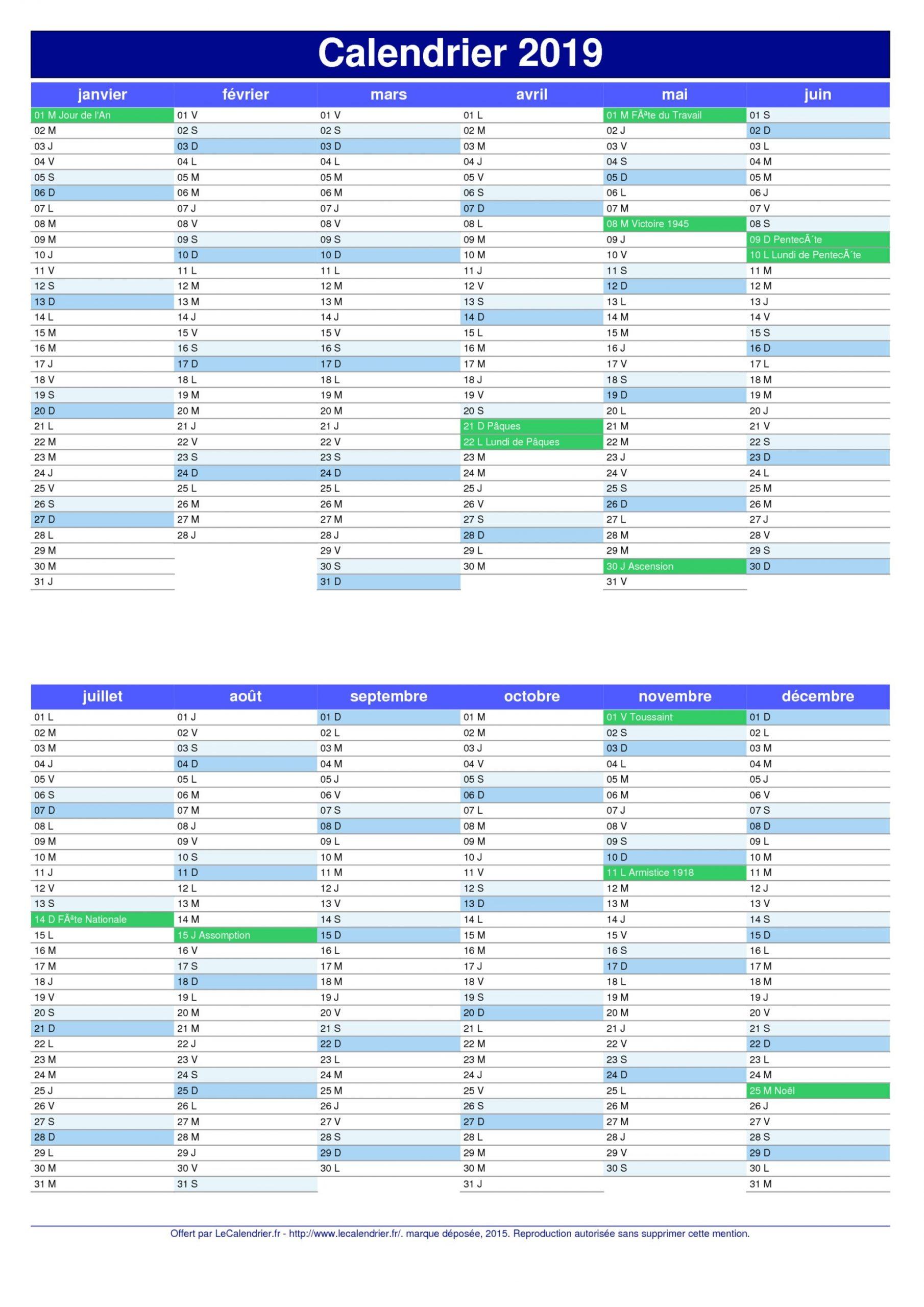 Imprimer Calendrier 2019 | 2019 Calendar Printable 2018 serapportantà Calendrier 2019 Avec Jours Fériés Vacances Scolaires À Imprimer