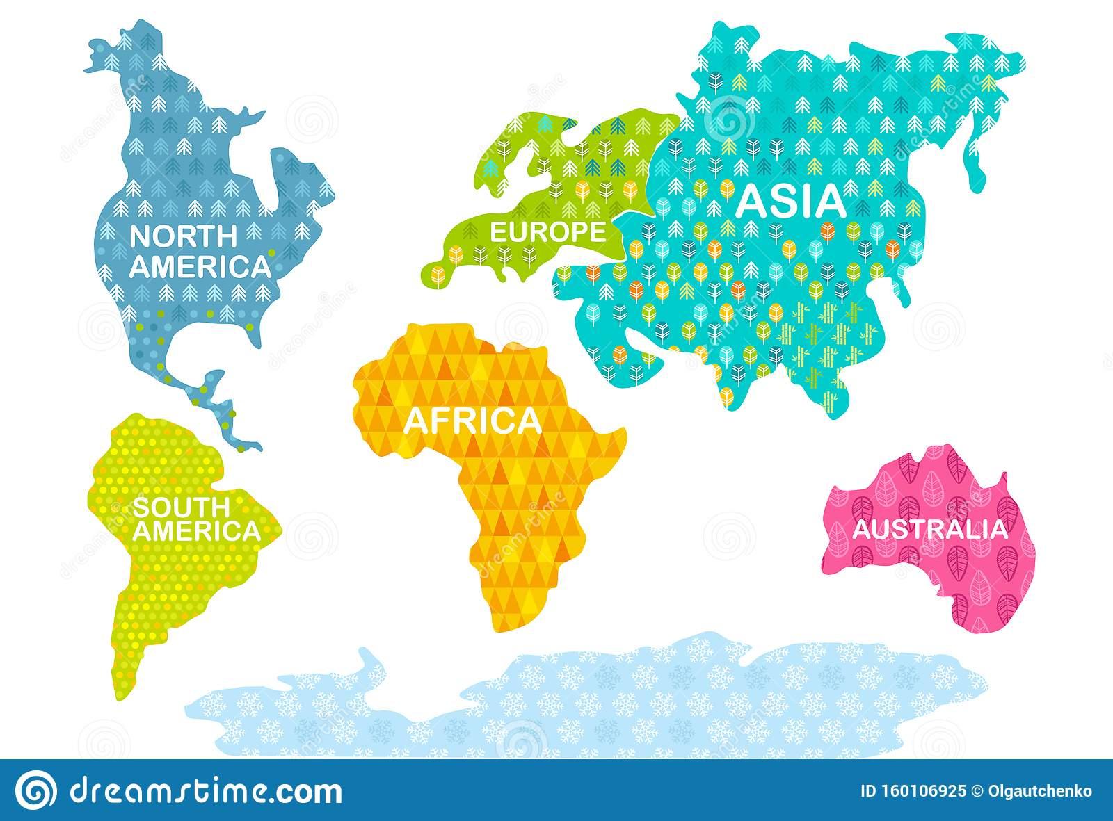 Imprimer Carte Du Monde Coloré Continents Avec Motifs encequiconcerne Carte De L Europe À Imprimer