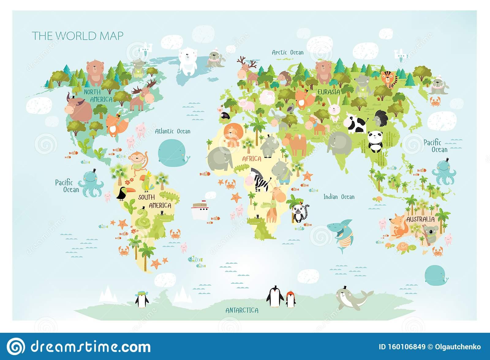 Imprimer Carte Vectorielle Du Monde Avec Des Animaux pour Carte De L Europe À Imprimer