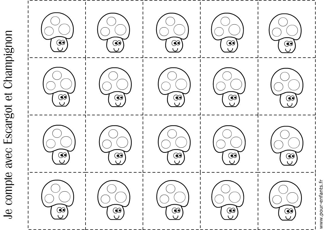 Imprimer Fiche Pour Compter Maternelle 20 Champignons Coloriage tout Découpage Maternelle À Imprimer