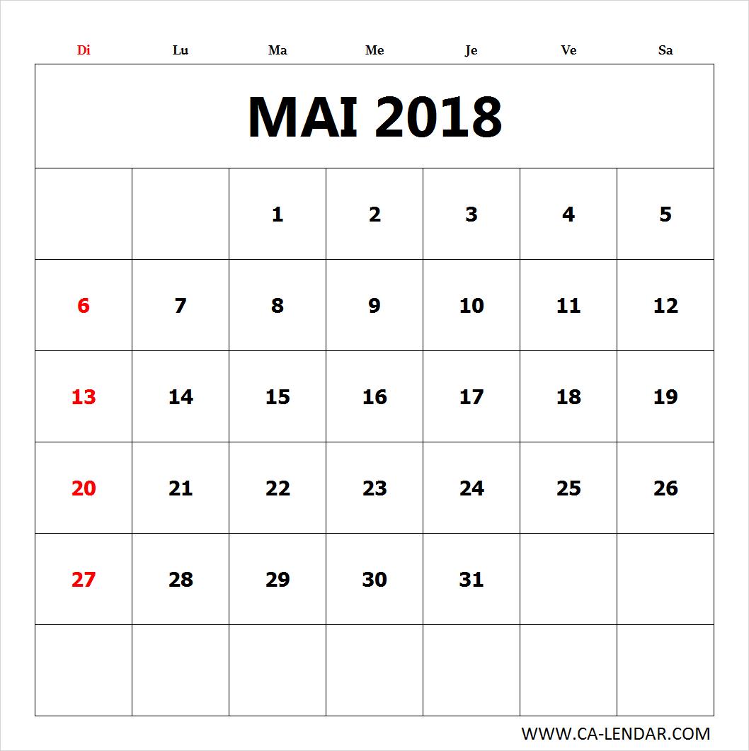 Imprimer Le Blanc Calendrier Mai 2018 | Tous Les Modèles à Calendrier Mensuel 2018 À Imprimer