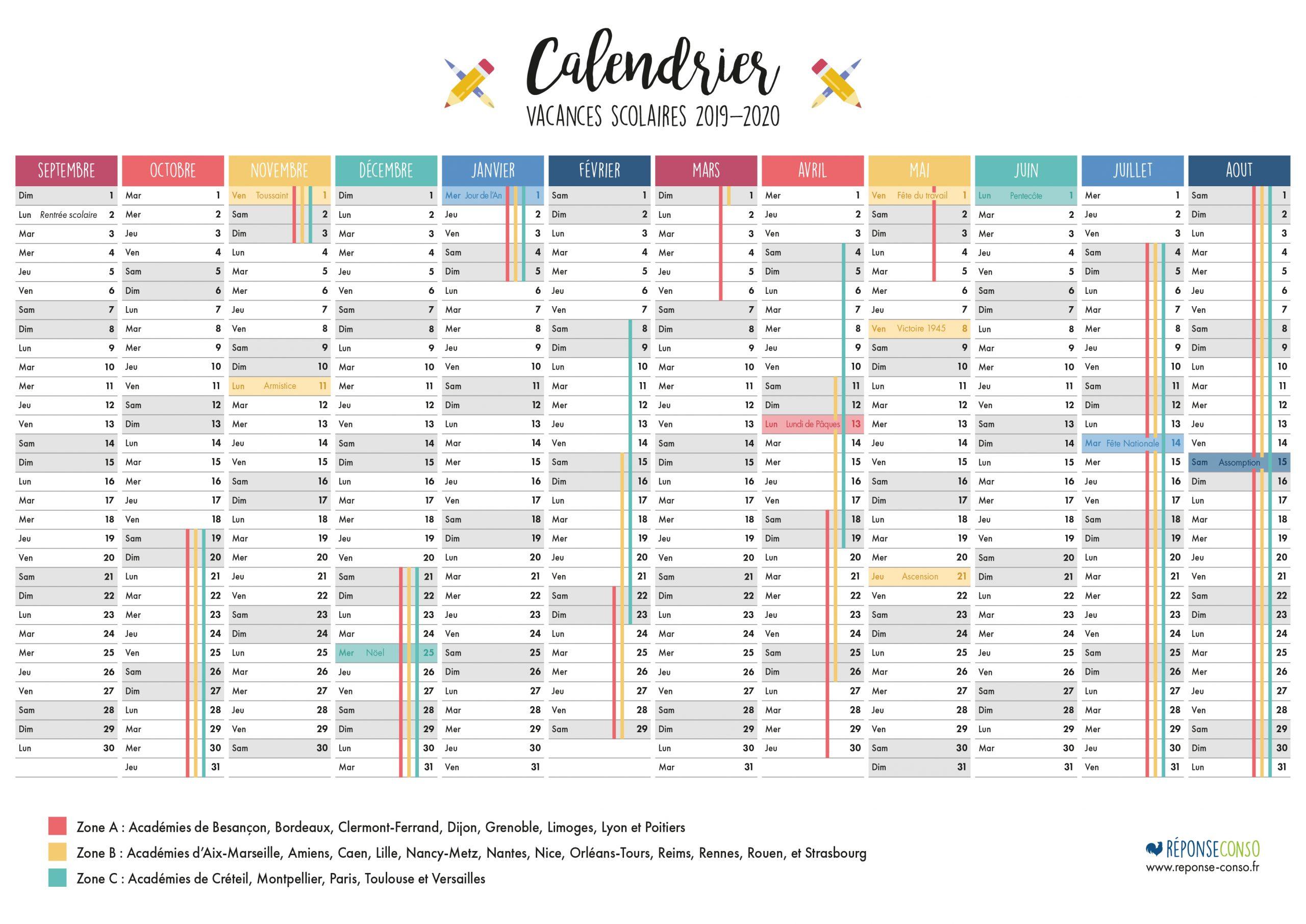 Imprimer Le Calendrier Scolaire Et Des Jours Fériés 2019 à Calendrier 2019 Avec Jours Fériés Vacances Scolaires