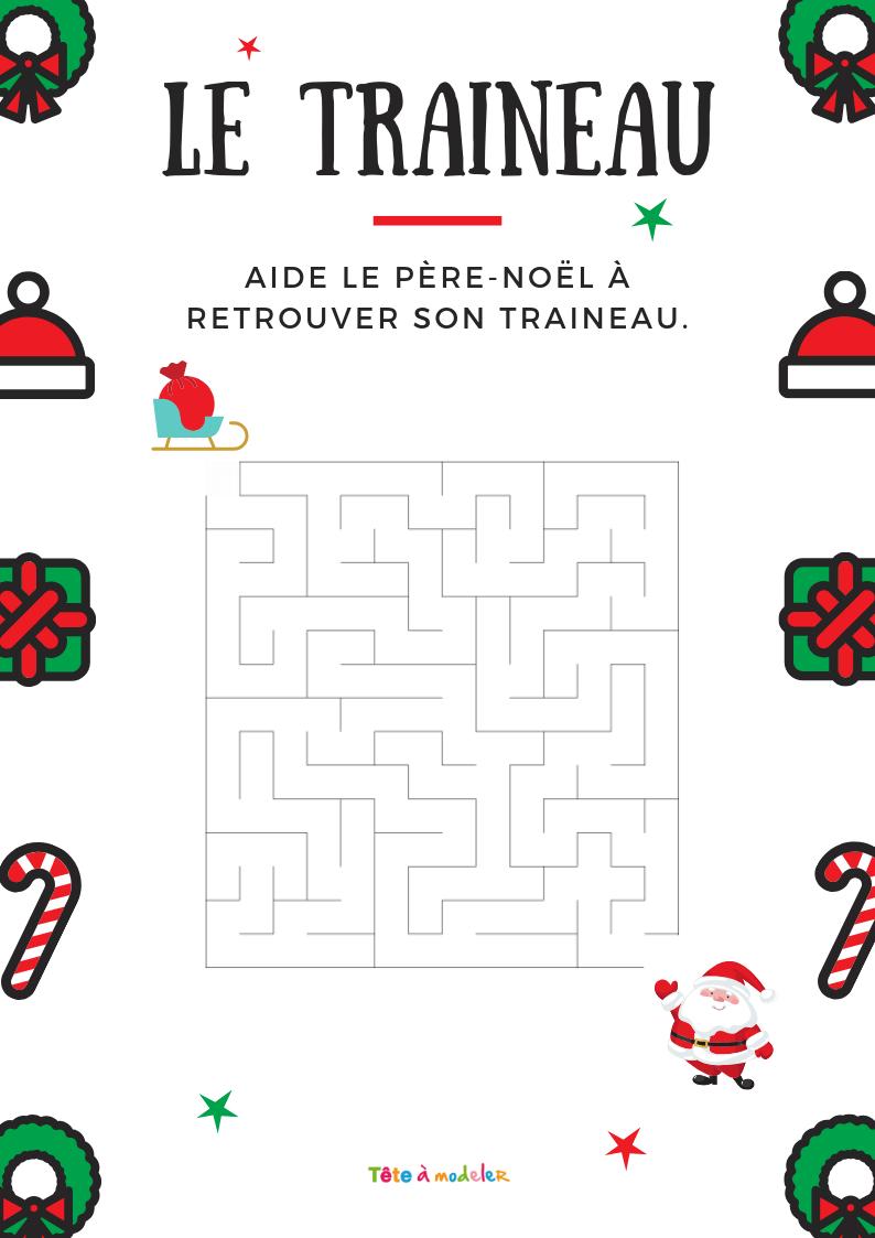 Imprimer Le Labyrinthe Le Père Noël Et Son Traîneau - Noel concernant Trouver Les Erreurs À Imprimer