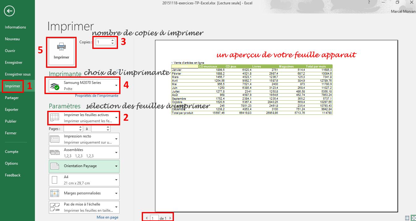 Imprimer Une Feuille Excel | Cours.fr destiné Feuille Lignée A Imprimer