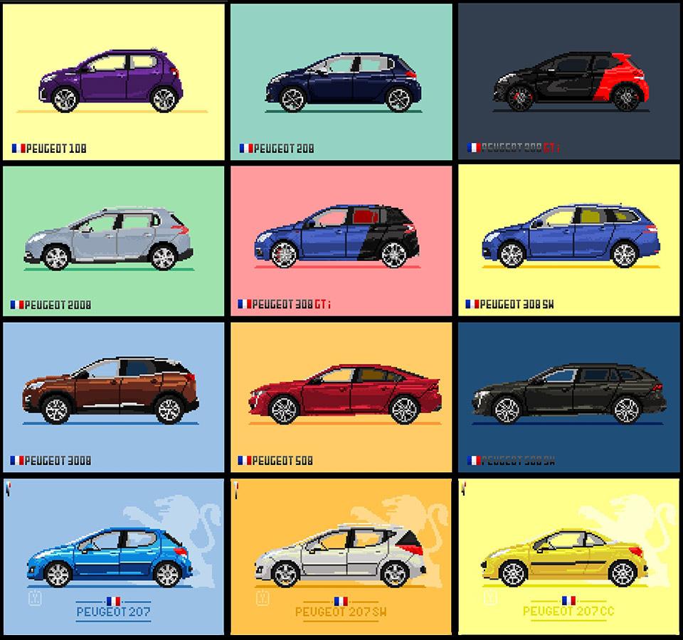 Insolite : Les Modèles Peugeot Déclinés En Pixel Art dedans Voiture Pixel Art