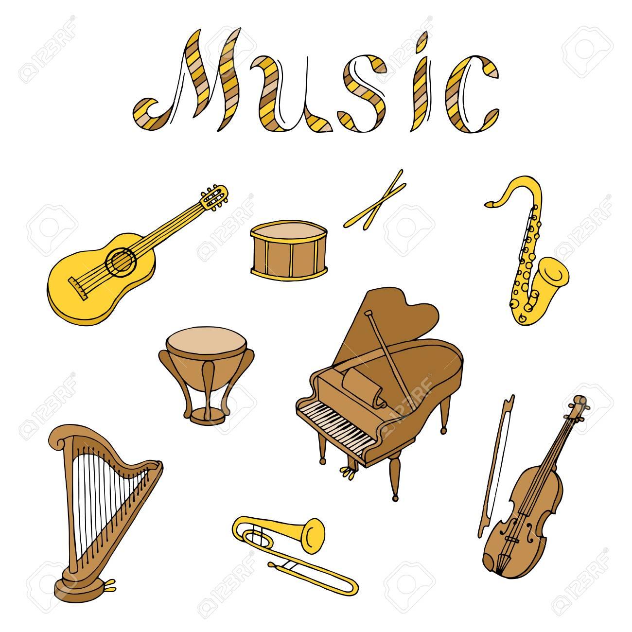 Instrument De Musique Jeu Graphique Brun Art Couleur Jaune Beige  Illustration Isolé concernant Jeu Des Instruments De Musique