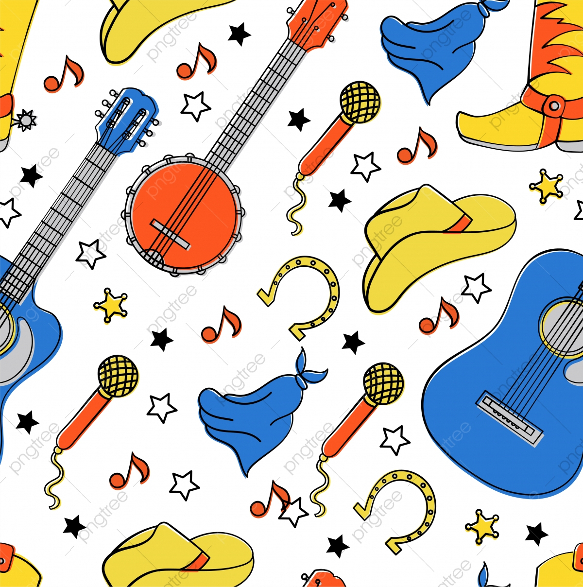 Instruments De Musique Country Festival Western De Cow Boy encequiconcerne Image Instrument De Musique À Imprimer