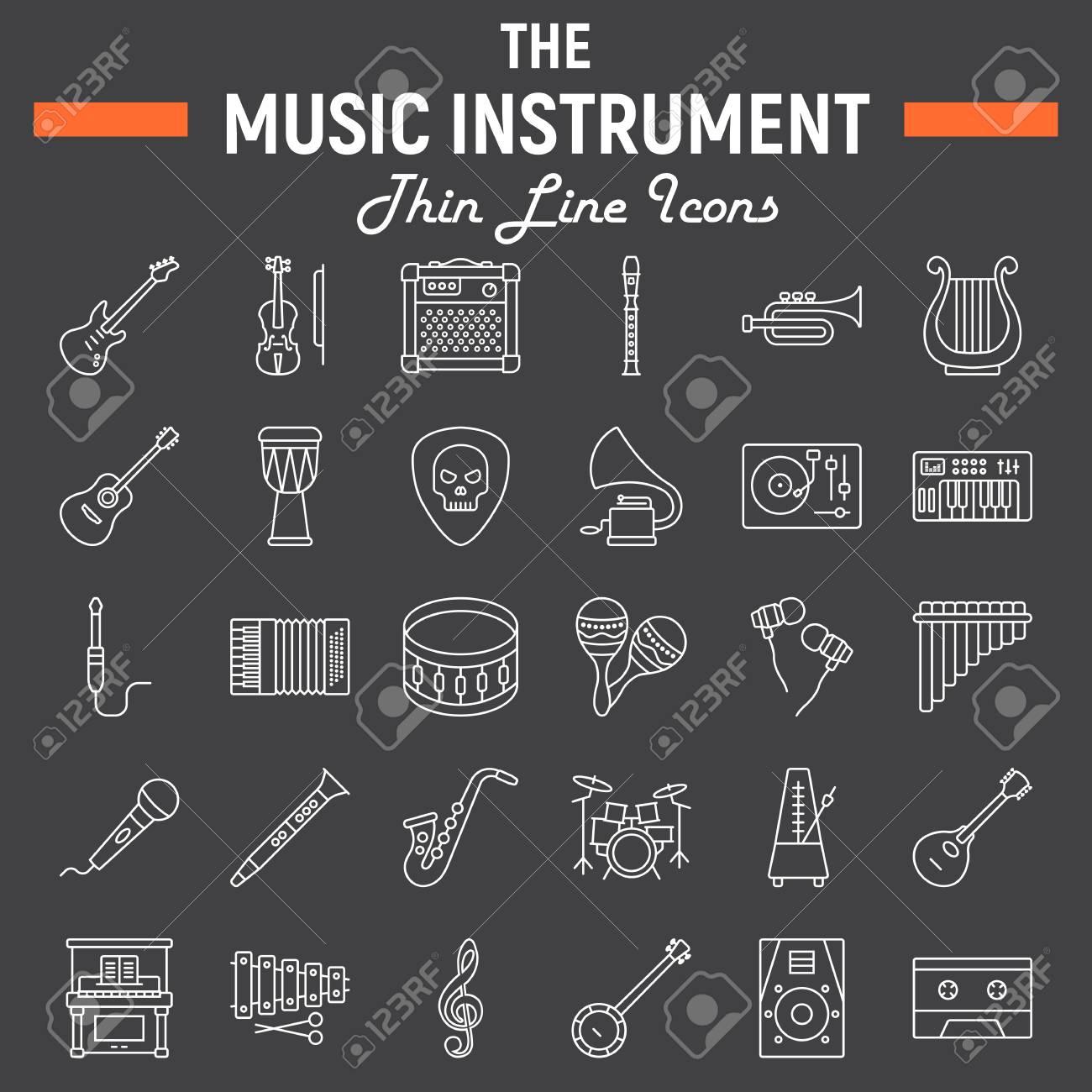Instruments De Musique Ligne Jeu D'icônes, Collection De Symboles Audio,  Croquis De Vecteur D'outils Musicaux, Illustrations De Logo, Paquet De concernant Jeux De Musique En Ligne