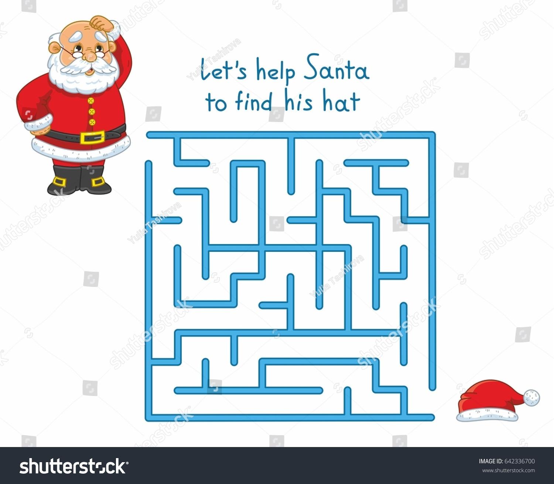 Interesting Maze Kids Funny Santa Game Stok Vektör (Telifsiz dedans Rebus Noel